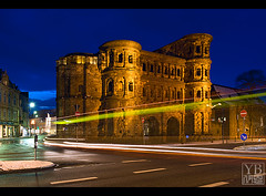Trier - Bus Trails at Porta Nigra (Yen Baet) Tags: travel winter snow church architecture germany deutschland twilight ancient europe nightshot cathedral dusk antique medieval constantine lighttrails bluehour oldtown romanempire trier portanigra ancientrome lightstream 2470mmf28 rhinelandpalatinate domstpeter  moselleriver nikond700 stgangolfchurch