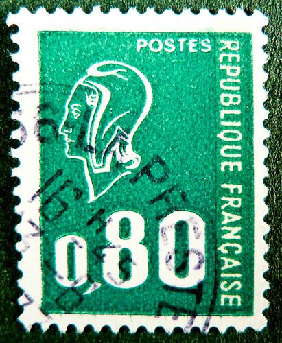 "french stamp France Postes 0,80 Marianne allegory green Frankreich francaise postage revenue porto timbre bollo sello marke marka briefmarke beautiful french stamp France timbres Frankreich Briefmarken Marianne ""Béquet"" Postes Republique Francaise RF selo"