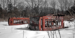 Laying Down in the Snow (SeRVe Photography) Tags: winter snow color abandoned booth rust phone durham whitby rusted booths gta region ont selective on ashburn onatrio