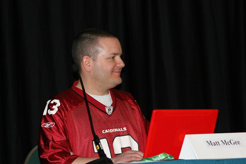 Matt McGee wearing Arizona Cardinals Jersey