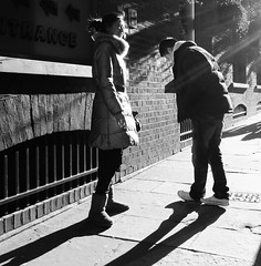 Walking the line - for your love (Ian Brumpton) Tags: street england blackandwhite bw london blancoynegro blackwhite noiretblanc candid streetphotography amour amore walkingtheline foryourlove londonstreetphotography scattidistrada