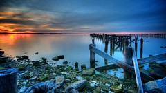 the pastel sunset (djdphotos) Tags: old longexposure sunset sky water night clouds river pier moss rocks cloudy pastel widescreen hdr jamesriver