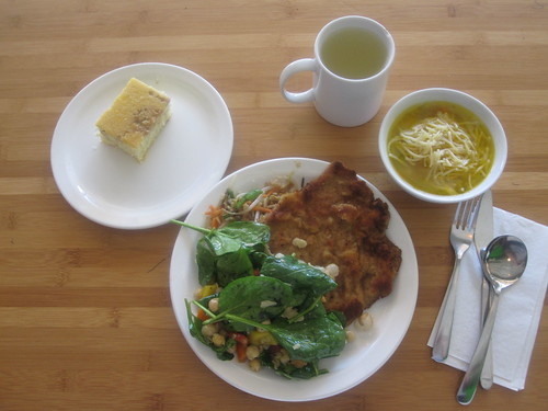 Soup, veal chop, salad, veggies, marbled cake, lemonade from the bistro - $6