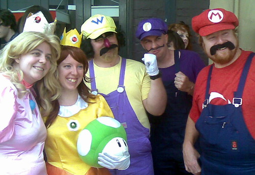 Mario World cosplayers at Mana Bar Opening, Brunswick St, Fortitude Valley, Brisbane, Queensland, Australia 100320