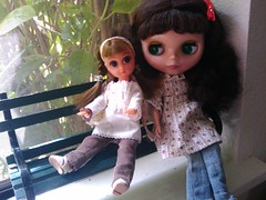 Dahlia and Penny enjoying their new bench