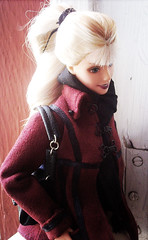 Barbie in Burgundy (Sol Devia) Tags: fashion bag shoes doll hand handmade barbie clothes made nails hollywood mattel