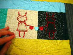 DQS8 by cathygaubert! (mochistudios) Tags: embroidery received miniquilt handquilting dollquiltswap supremeawesomeness cathygaubert dqs8 stunningworkofart