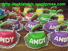 ... mc Queen cake – cars edible minicake, cars 3D minicake dan pot bunga