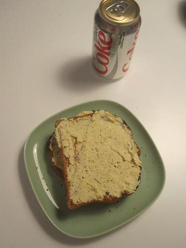Diet coke and tofu spredad toast