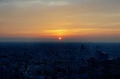 Sunset over Shinjuku on June 3, 2011 (hidesax) Tags: city sunset sky urban sun japan skyline tokyo nikon shinjuku raw cityscape nikkor hazy hdr observationdeck  d90 3xp nikond90 tokyometropolitangovernmnetbuilding nikkor2470mmf28ged hidesax
