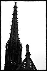 13 - Paris - Descendre le boulevard Magenta avec la nuit - Eglise Saint-Laurent - Etêté... (melina1965) Tags: îledefrance paris février february 2017 10earrondissement 75010 nikon d80 noiretblanc blackandwhite bw église églises church churches ciel sky