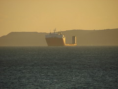 Ship (daveandlyn1) Tags: canon powershot sx30is weymouth dorset bridgecamera sea water seaside haze ship sunset