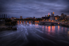A Cold Minneapolis Evening (bryanscott) Tags: park city urban building water minnesota skyline architecture night river evening cityscape power minneapolis twincities hdr
