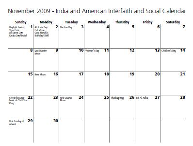November 2009 India and America Interfaith and Social Calendar