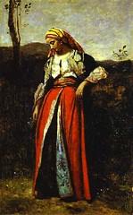 Corot, Jean Baptiste (1796-1885) - 1879 Pensive Woman in Oriental Dress (Shelburne Museum, Shelburn, VT, USA.) (RasMarley) Tags: french 19thcentury painter figure orientalism realism corot jeanbaptistecamillecorot barbizonschool figureportrait pensivewomaninorientaldress