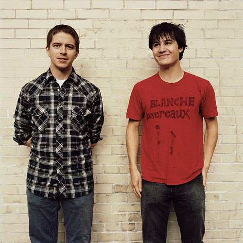 Part of being in a band is standing in front of brick walls and looking like youre in a band. Logan Kroeber (left) and Meric Long (right)