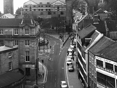Newcastle. (: (JemmaJusticePhotography.) Tags: road street camera city england blackandwhite white black building car architecture contrast photography justice north east finepix saturation fujifilm newcastleupontyne greyscale jemma s6500fd flickraward jemmysaur jemmaammej