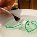 Creating strings with sodium alginate in a calcium bath