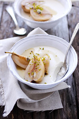 maple and homemade yogurt panna cotta with poached forelle pears (cannelle-vanille) Tags: autumn spices maplesyrup pannacotta poachedpears forellepears homamadeyogurt