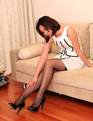 Silk White Dress (Canon5dnuts) Tags: portrait sexy stockings girl beauty lady asian photography women dress candid skirt hose wife heels stocking miniskirt pantyhose leggy silky nylons