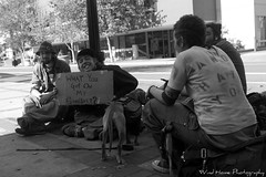 Homeless travelers in Eugene, Oregon (Wind Home) Tags: street portrait people blackandwhite dog pets white signs black streets kids youth oregon canon living punk downtown homeless eugene homelsspets