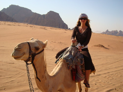 Jordan-Julia on camel in Wadi Rum - courtesy of WT