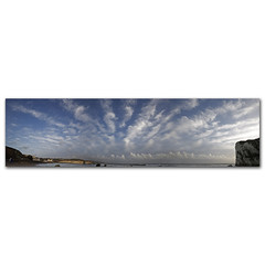 Totally Panoramic ( Altocumulus Radiatus over Freshwater Bay) (s0ulsurfing) Tags: ocean uk november blue autumn light sea england sky panorama cloud sunlight english fall texture nature water strange weather clouds composition canon landscape island bay coast big crazy scenery skies natural britain patterns wide perspective shoreline blues wideangle panoramic coastal shore ve