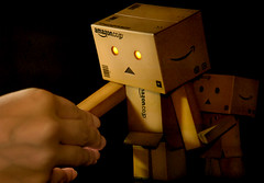 Meeting for the Very First Time (Amy Tan LL) Tags: toy robot amazon box cardboard danbo d80 revoltech danboard