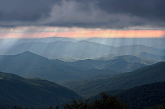 Approaching Storm in the Appalachians (Pheno Me Non) Tags: summer sky storm mountains clouds nikon sunbeams stormclouds appalachianmountains appalachians cherohalaskyway d90 unicoimountains transientlight