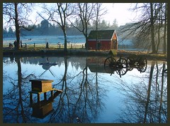 Wintertime at The Old Village (perkriz) Tags: trees winter windmill museum denmark pond carriage shed 1001nights reflexions naturesfinest sunshile hjerlhede superaplus aplusphoto platinumheartaward vinderup perkriz 1001nightsmagiccity