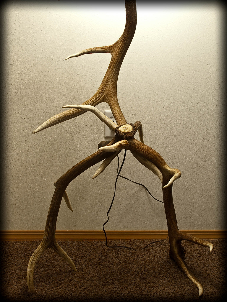 3 elk antler floor lamp - 3