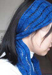 Short Lace Ribbon Scarf (athena.) Tags: blue wool scarf handmade lace 2009 madebyme crafting knitty malabrigo neckwear knittingcrafts laceribbonscarf