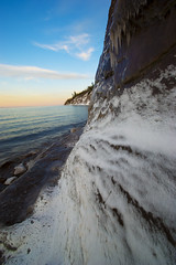 Around the Corner... (Northwoods Photos) Tags: winter sunset snow ice nature wisconsin scenery rocks pentax lakes lakesuperior northwoods