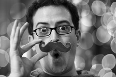bokeh-stache! (richietown) Tags: christmas portrait topv111 self canon bokeh 7d mustache 50mm18 richietown