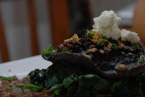 portobello with spinach and latkes and chevre