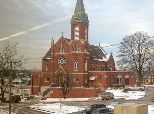 Sacred Heart Roman Catholic Church, in Valley Park, Missouri, USA - view from Amtrak train