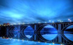 Key Bridge at Night HDRI (Gregory P Harris) Tags: bridge blue sky washingtondc key hdri refelction keybridge patomac patomicriver potamocriver