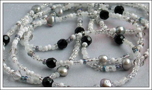 Seed bead, pearl, onyx & crystal necklace