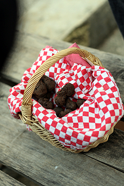 red basket of truffles