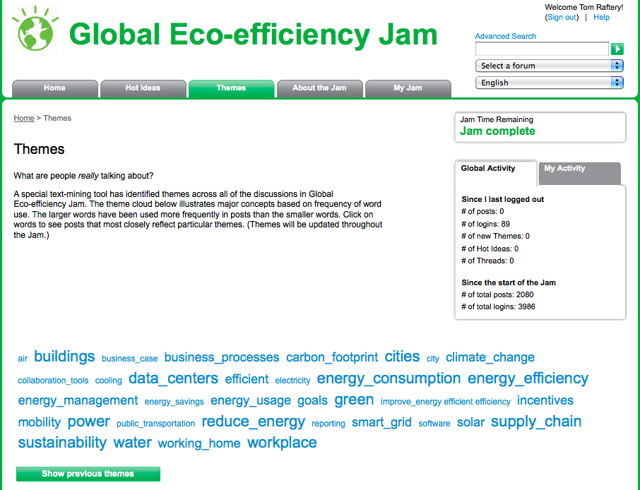 IBM EcoJam Themes tag cloud