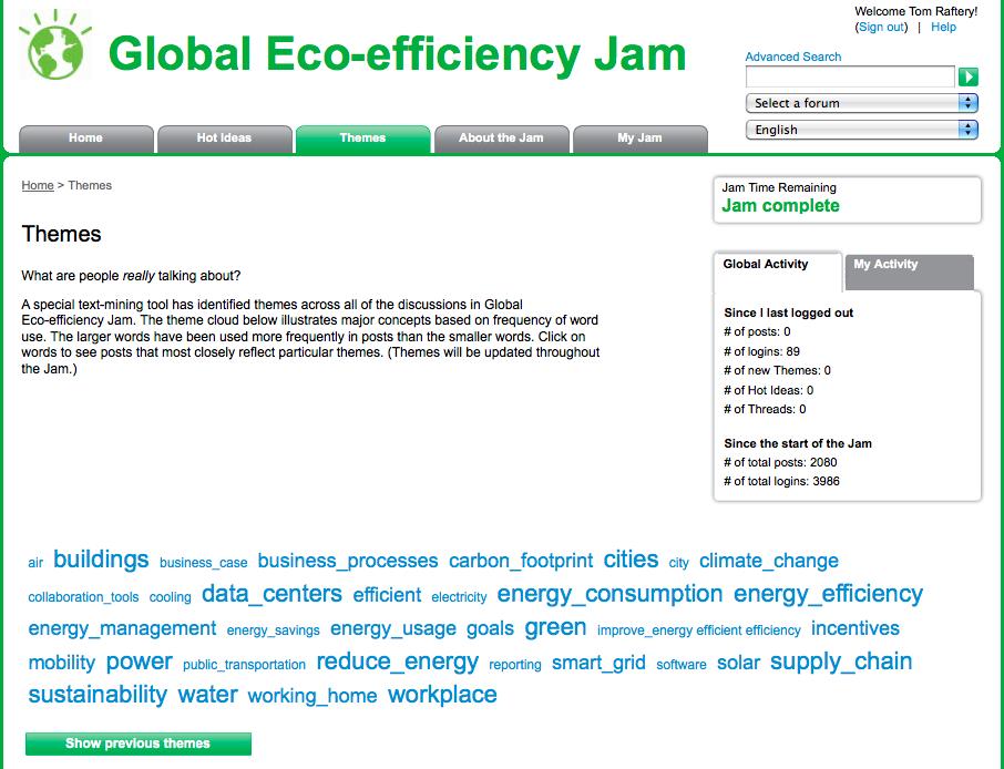 IBM EcoJam Themes tag cloud