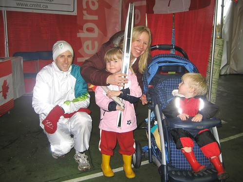 Amber and the kids with the (unlit) torch