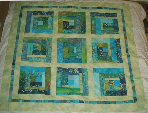 Turquoise/green crazy log cabin, top only