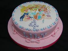 Winx birthday cake for Lily (Crazy Cake - Cakedesigner57) Tags: pink flowers party food cake sugar birthdaycake bows winx