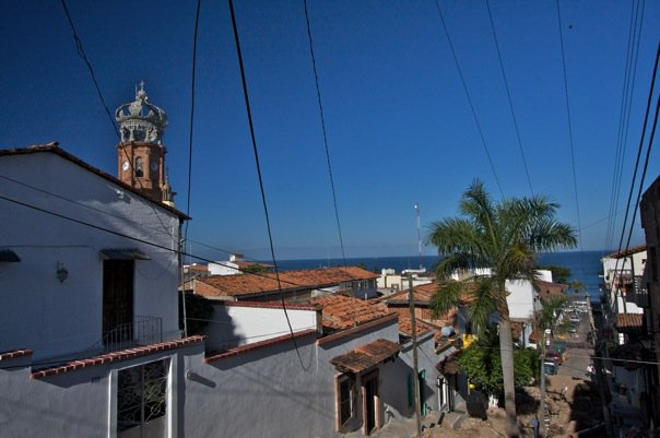 Electric lines by Cathedral in Puerto Vallarta, Mexico