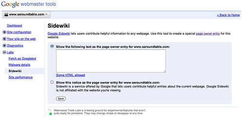 Google Sidewiki in Webmaster Tools Labs