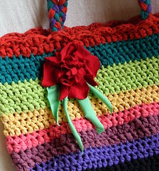 Crochet handbag made from T-shirt yarn - detail (stiglice - Judit) Tags: bag colorful tshirt yarn recycling handbag