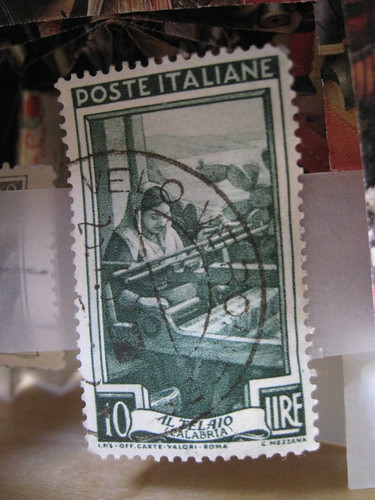 close-up of Italian stamp