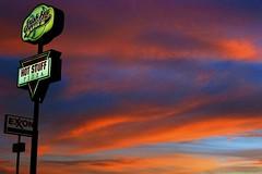 Hot Stuff (Chris Saulit) Tags: sunset sky cloud sign highway roadtrip idaho signage interstate drama hotstuff dubois i15 smashhit