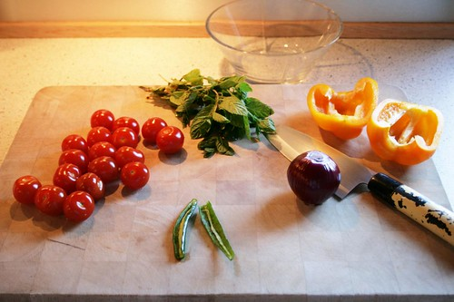 making fresh salsa with mint